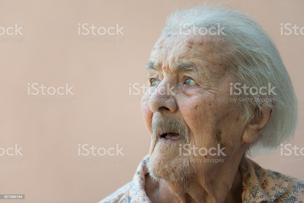 Side view of an very  Old lady stock photo