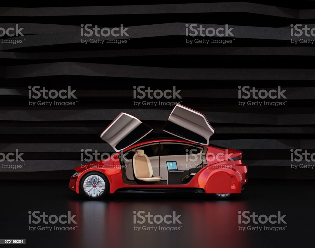 Side view of autonomous car on abstract background stock photo