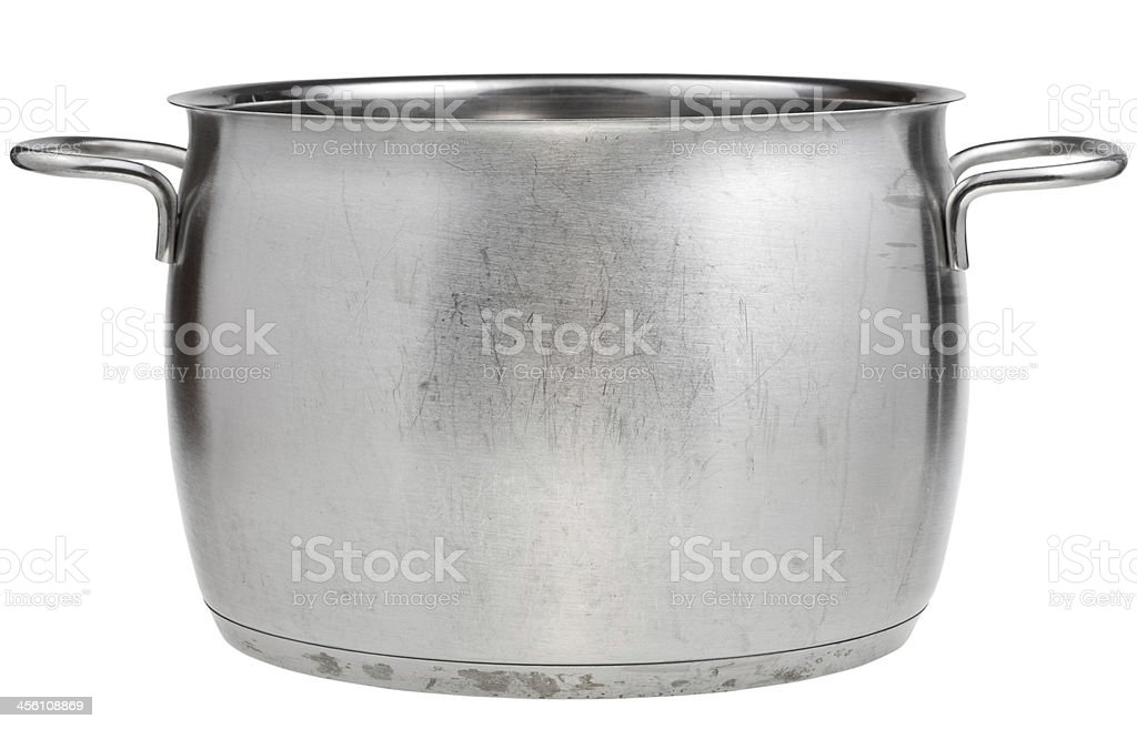 side view of big stainless steel saucepan stock photo