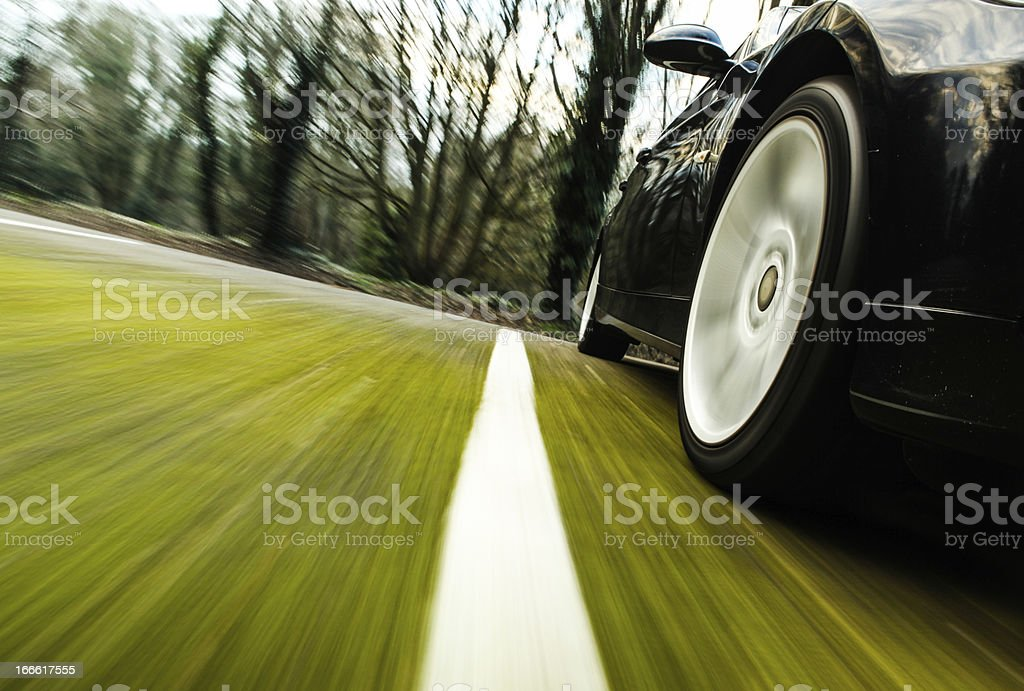 Side view of black car. stock photo