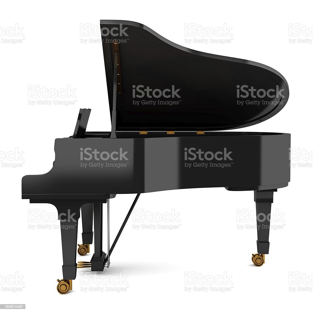side view of black grand piano isolated on white background stock photo