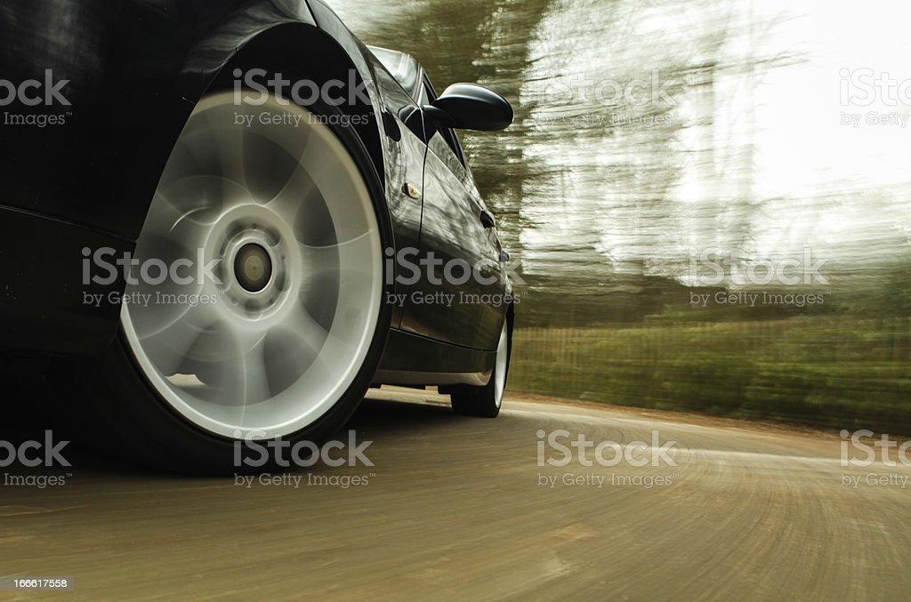 Side view of black sport car. stock photo