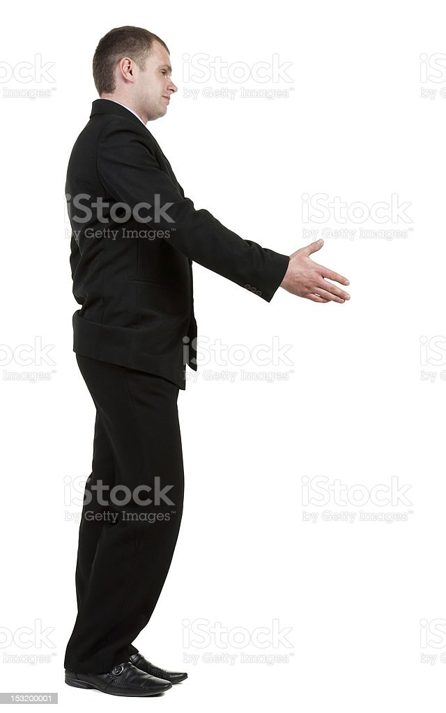 side view of Businessman  in black suit  handshake. royalty-free stock photo