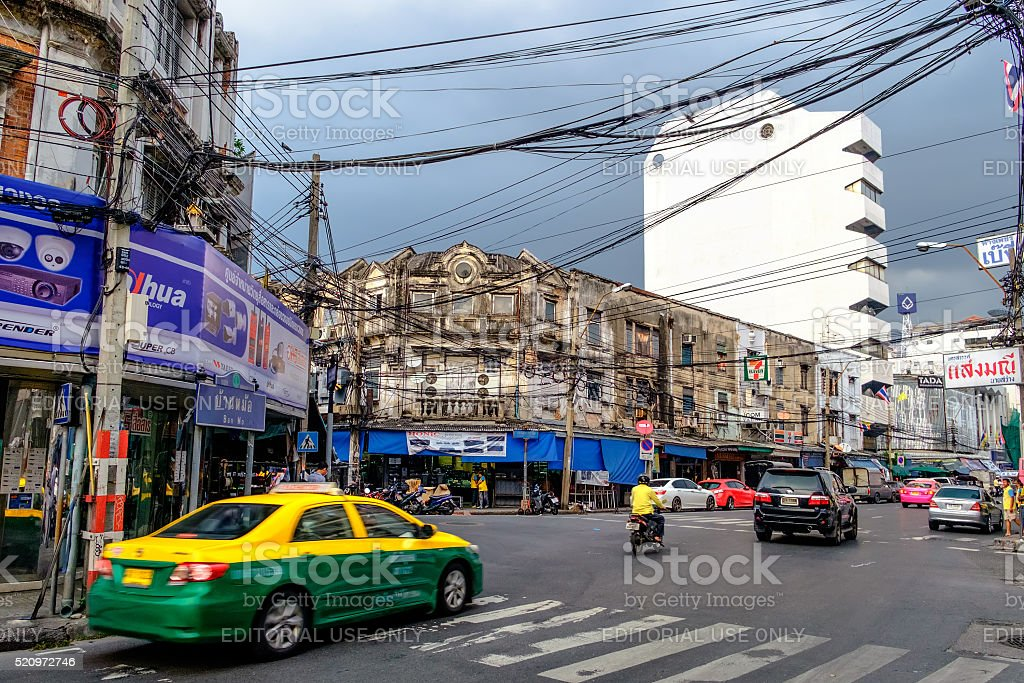 Side view of busy traffic in Bangkok, Thailand. stock photo