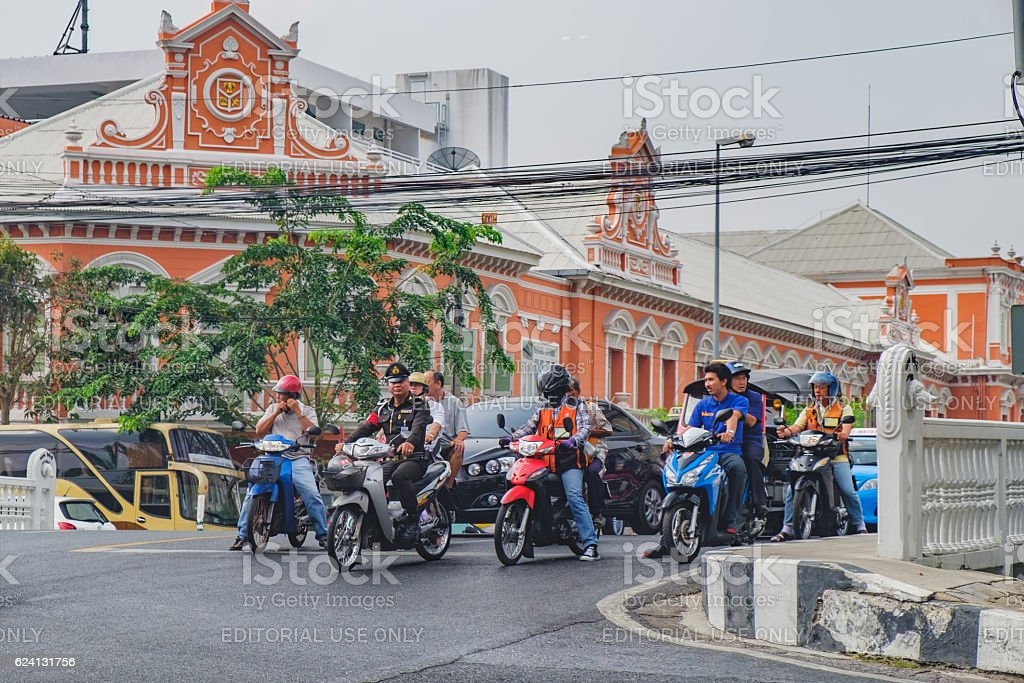 Side view of busy traffic in Bangkok, Thailand stock photo