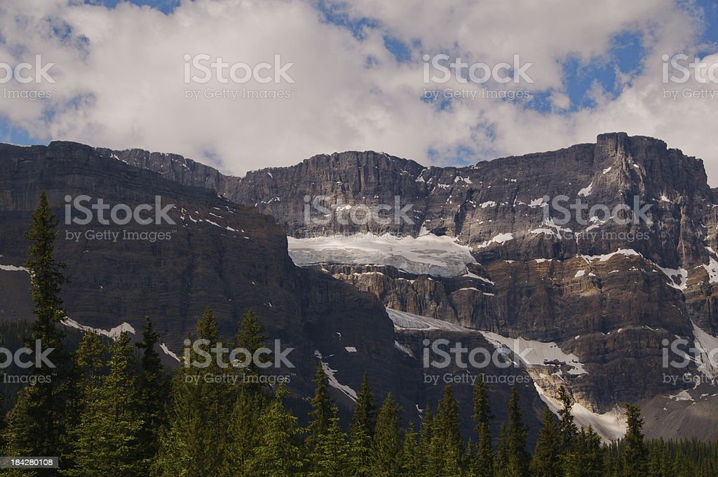 Side view of Crowfoot Glacier stock photo