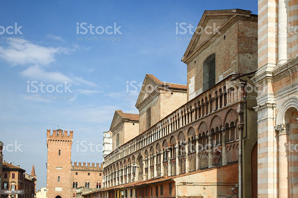 Side view of Ferrara Cathedral (Emilia-Romagna, Italy) royalty-free stock photo