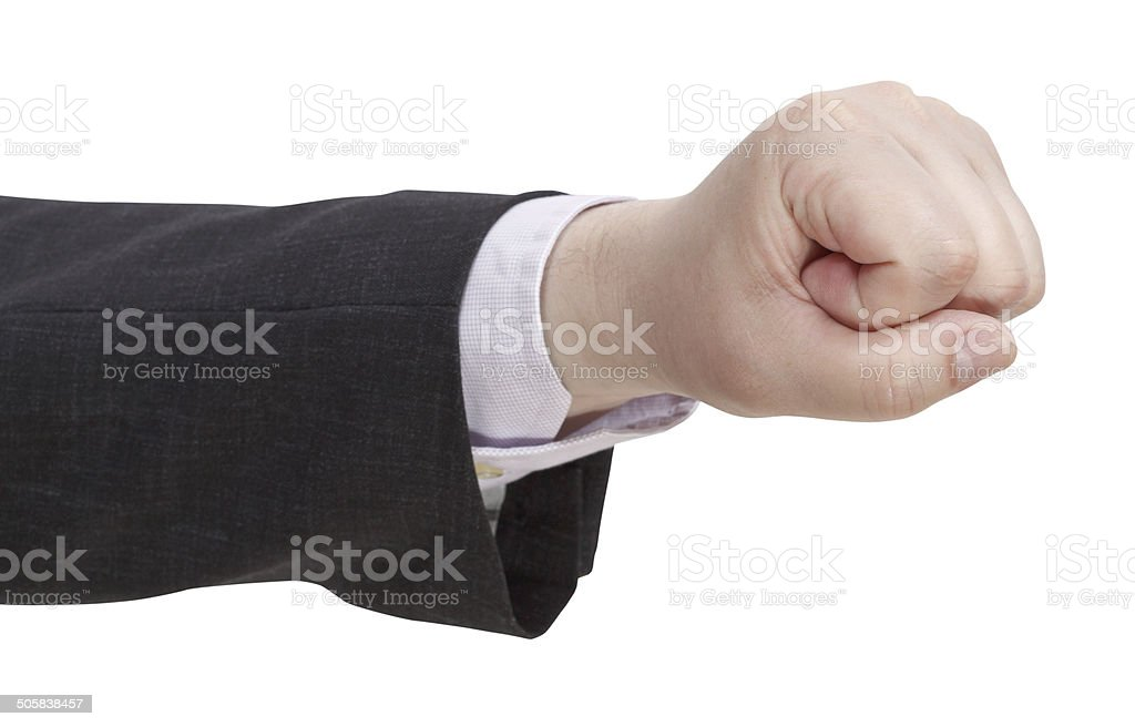 side view of fist - hand gesture stock photo
