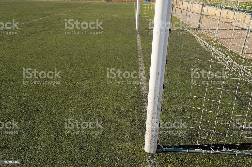 side view of football goal stock photo