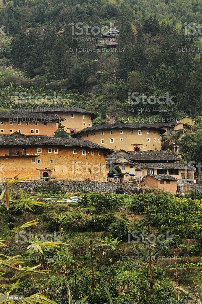 Vista laterale del Fujian Earthen strutture, Cina foto stock royalty-free