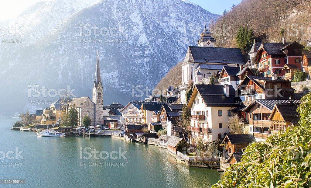 Side view of Hallstatt, Austria stock photo