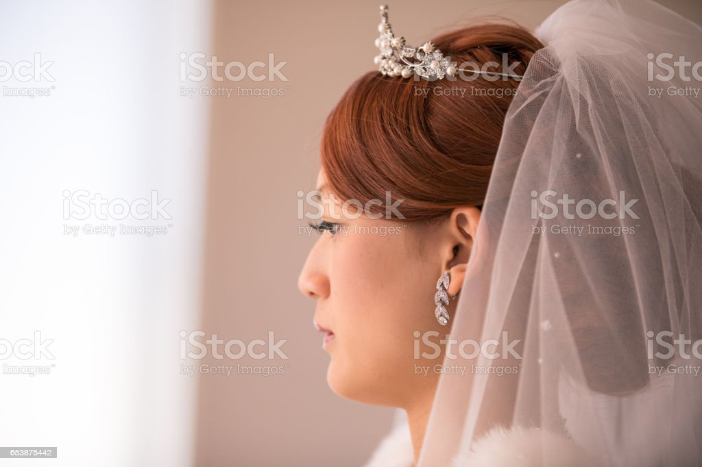Side view of happy bride stock photo