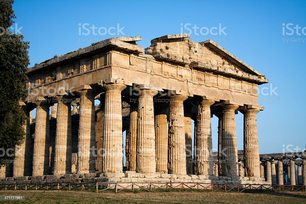 Side view of Hera temple in Paestum, Italy stock photo