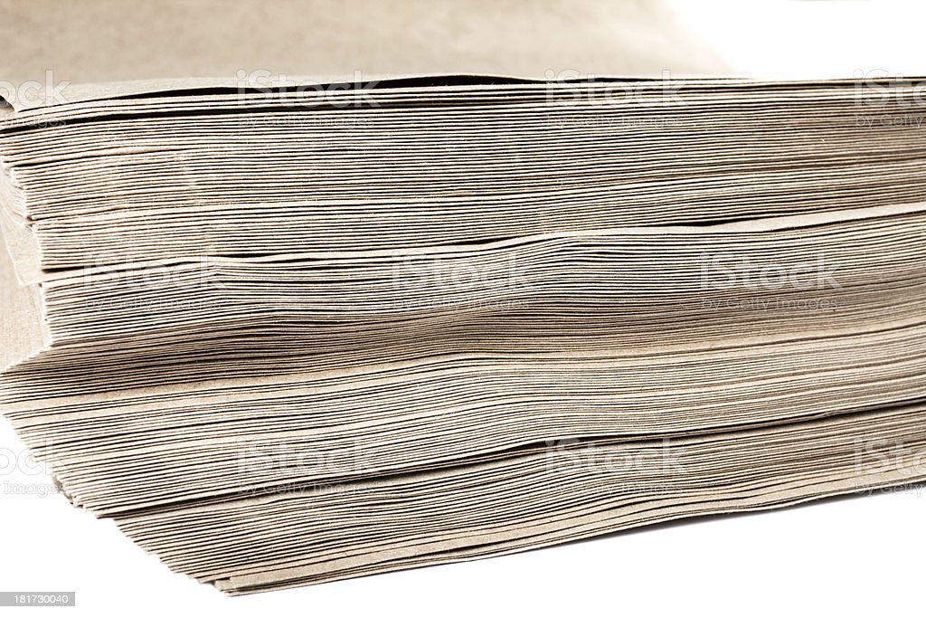 Side View Of Huge Stack Recycled Paper cardstocks  isolated o royalty-free stock photo