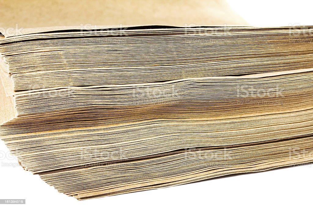 Side View Of Huge Stack Recycled Paper envelopes royalty-free stock photo