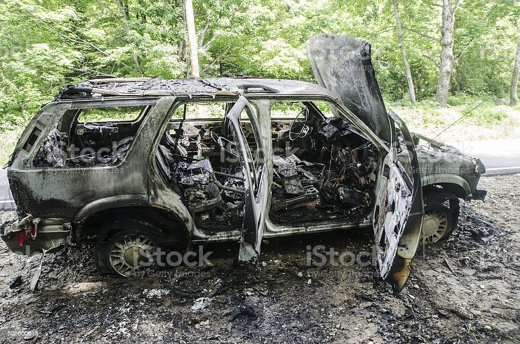 Side view of interior car burned stock photo