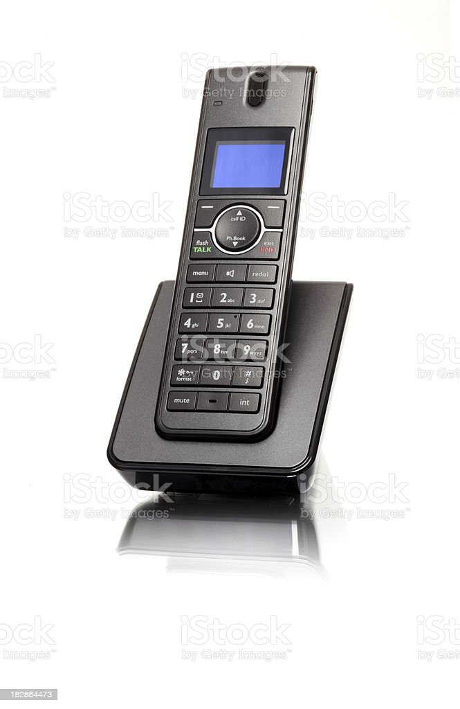 Side view of land line phone stock photo