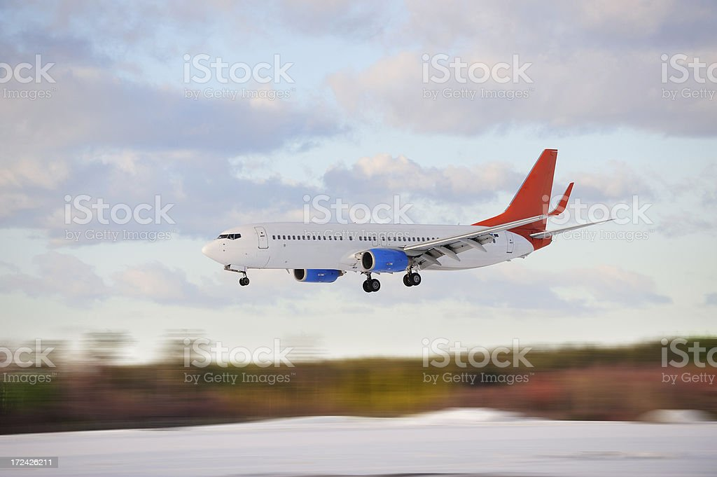 Side view of landing plane royalty-free stock photo