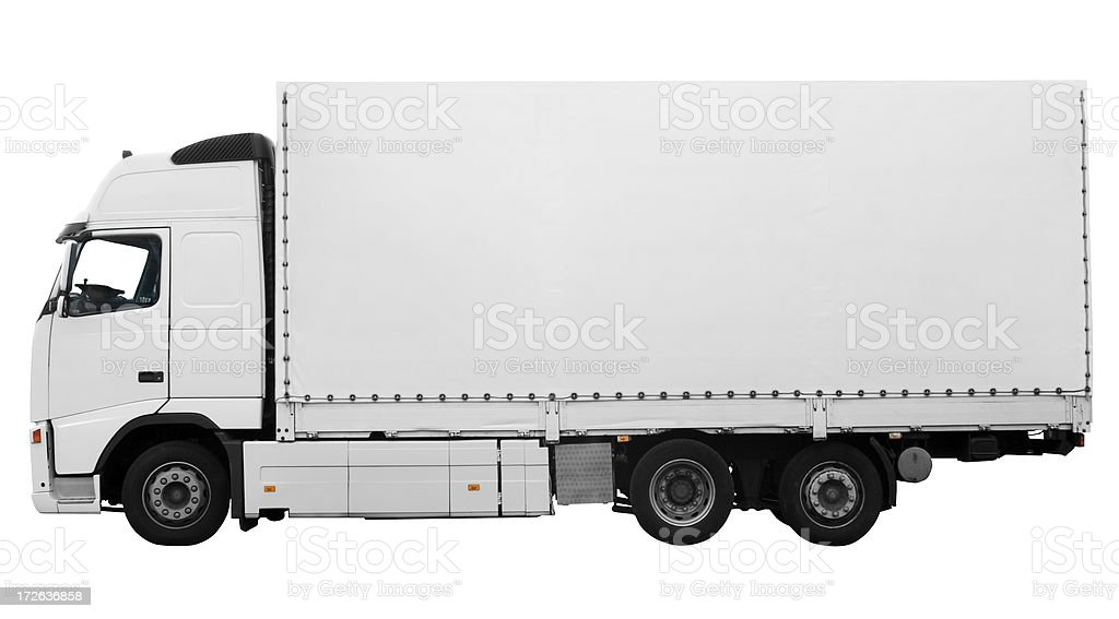 Side view of large white truck on white background stock photo