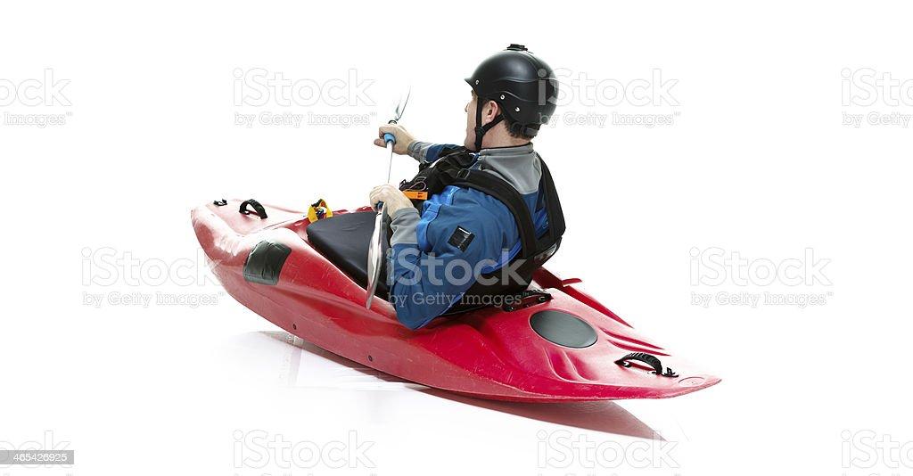Side view of man kayaking royalty-free stock photo