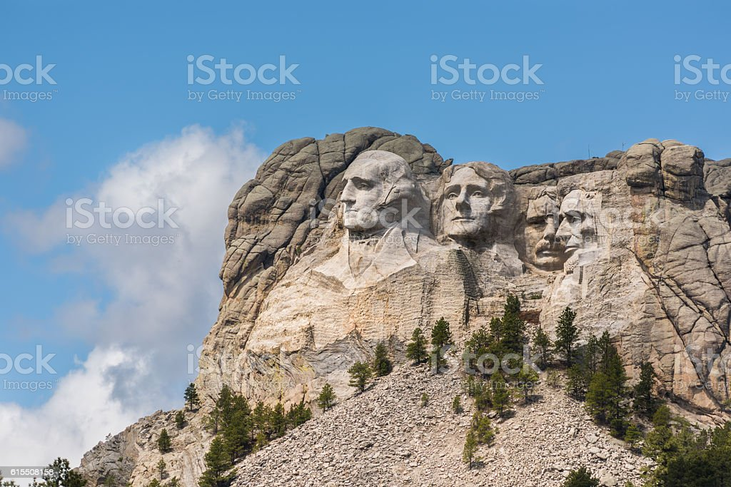 Side view of Mount Rushmore with sunlight stock photo