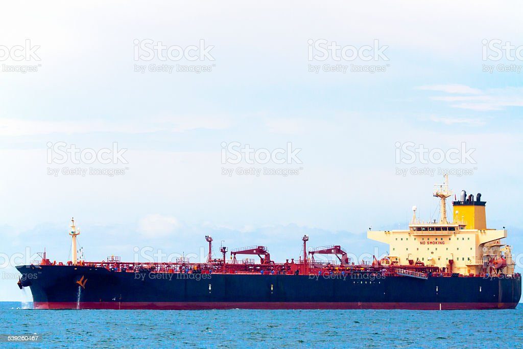 Side view of Oil Tanker on the sea stock photo
