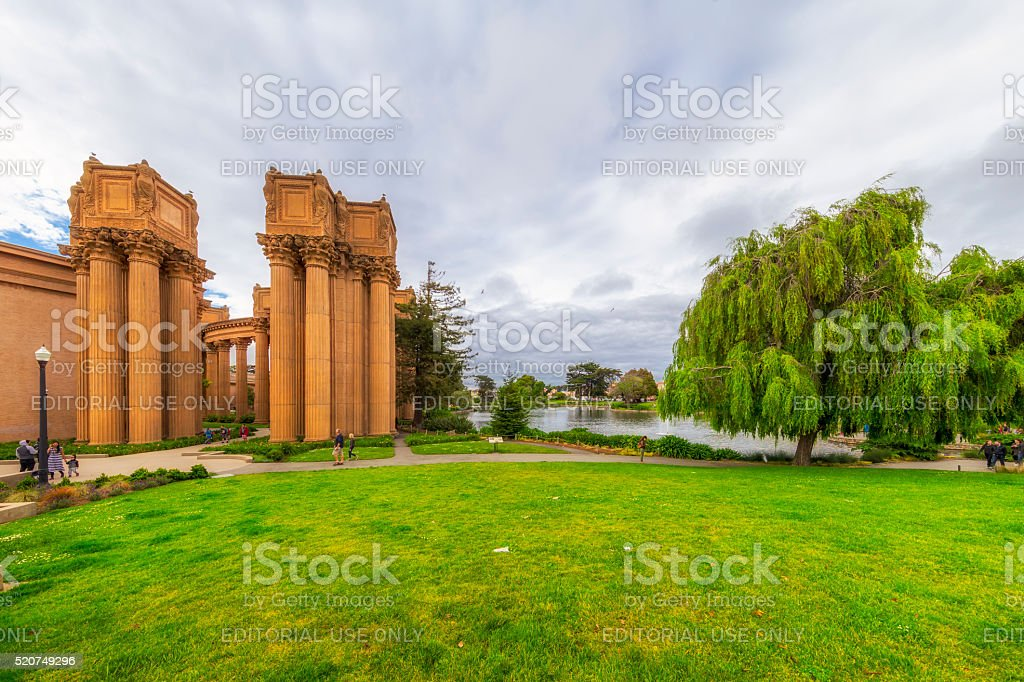 Side View of Palace of fine Arts at San Francisco stock photo