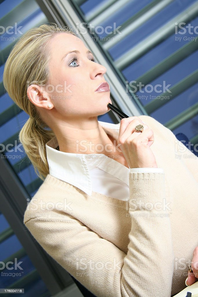 Side View of Pensive Caucasian Woman royalty-free stock photo