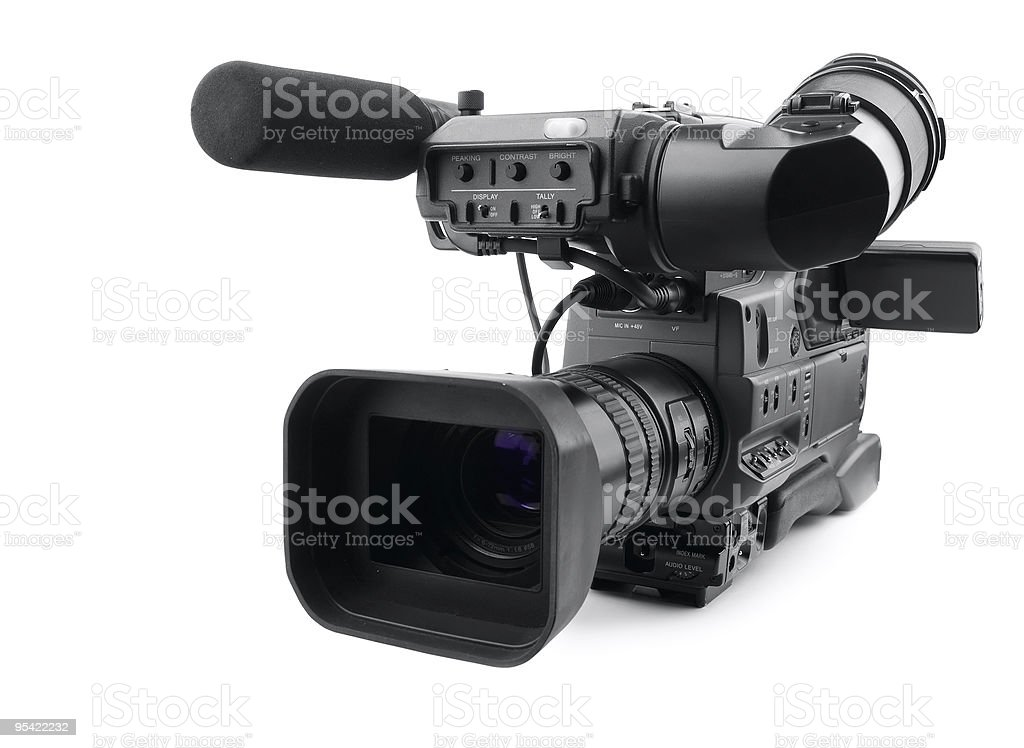 Side view of professional digital video camera  royalty-free stock photo