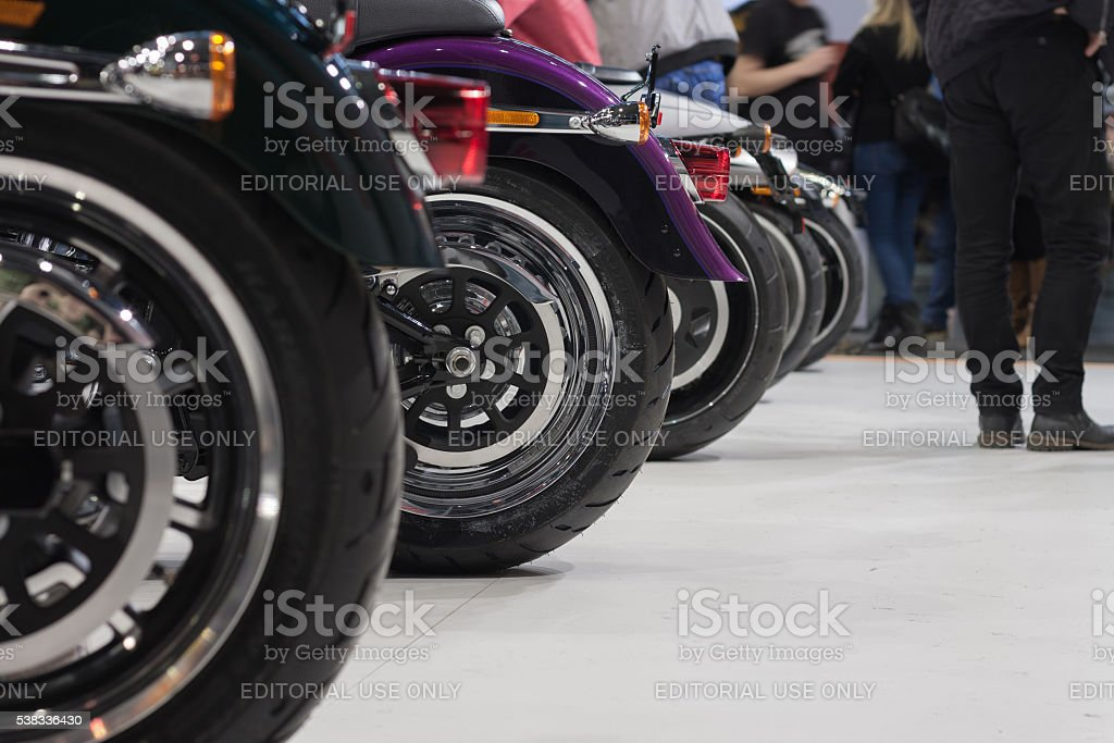 Side view of rear wheels of motorcycle Harley Davidson stock photo