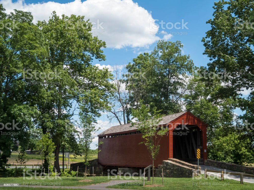 Side View of Roddy Road Covered Bridge In Springtime stock photo