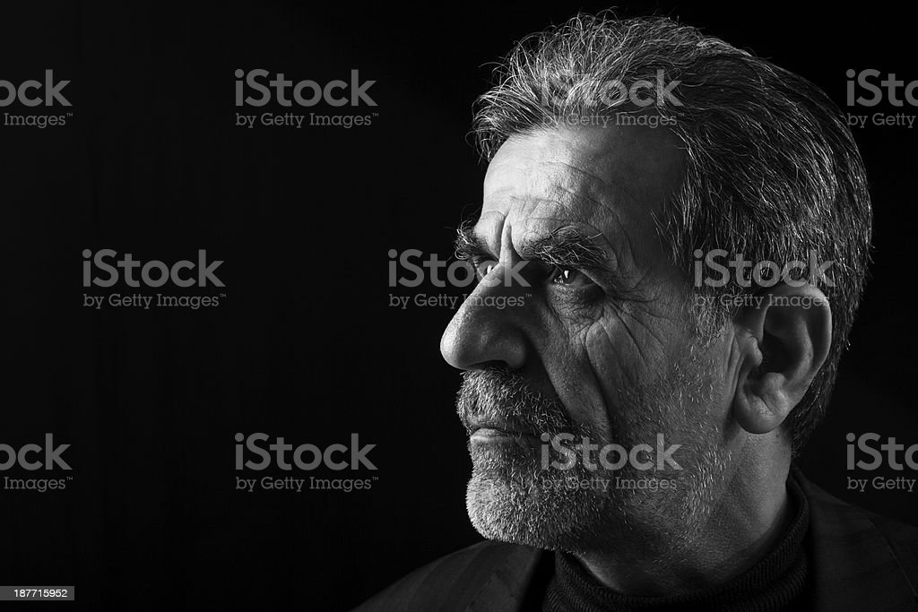 Side view of senior man head