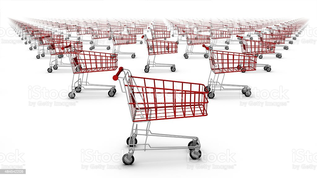 Side view of shopping carts royalty-free stock photo