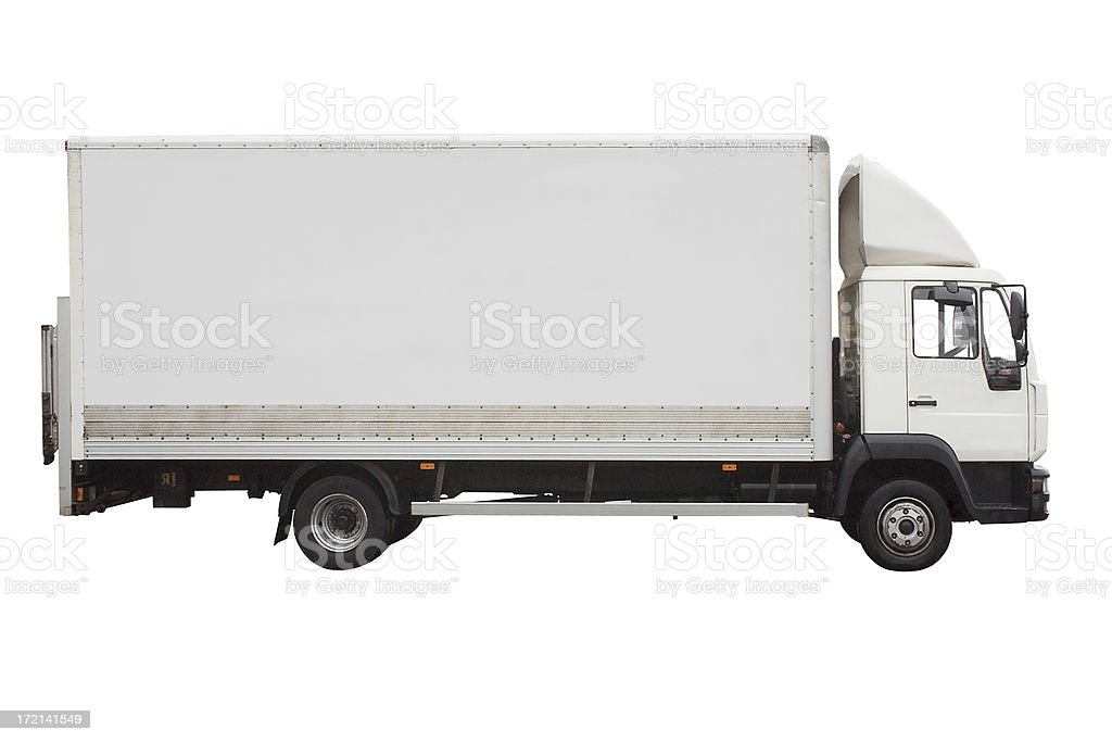Side view of small white truck isolated on white stock photo