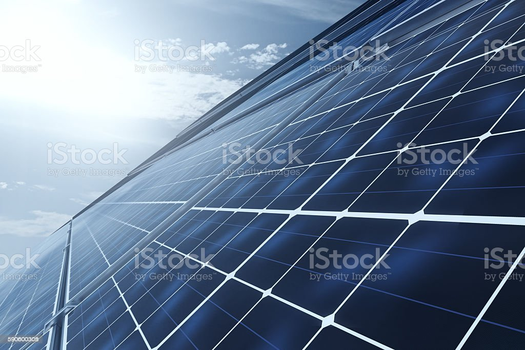 Side view of solar panels stock photo