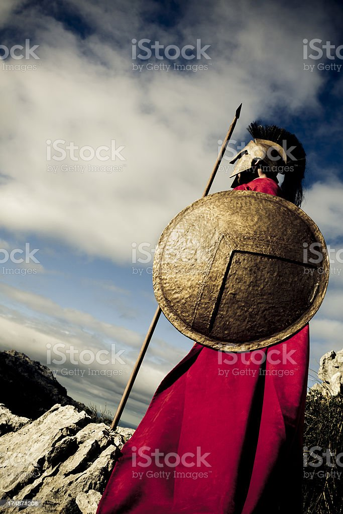 Side view of Spartan warrior stock photo