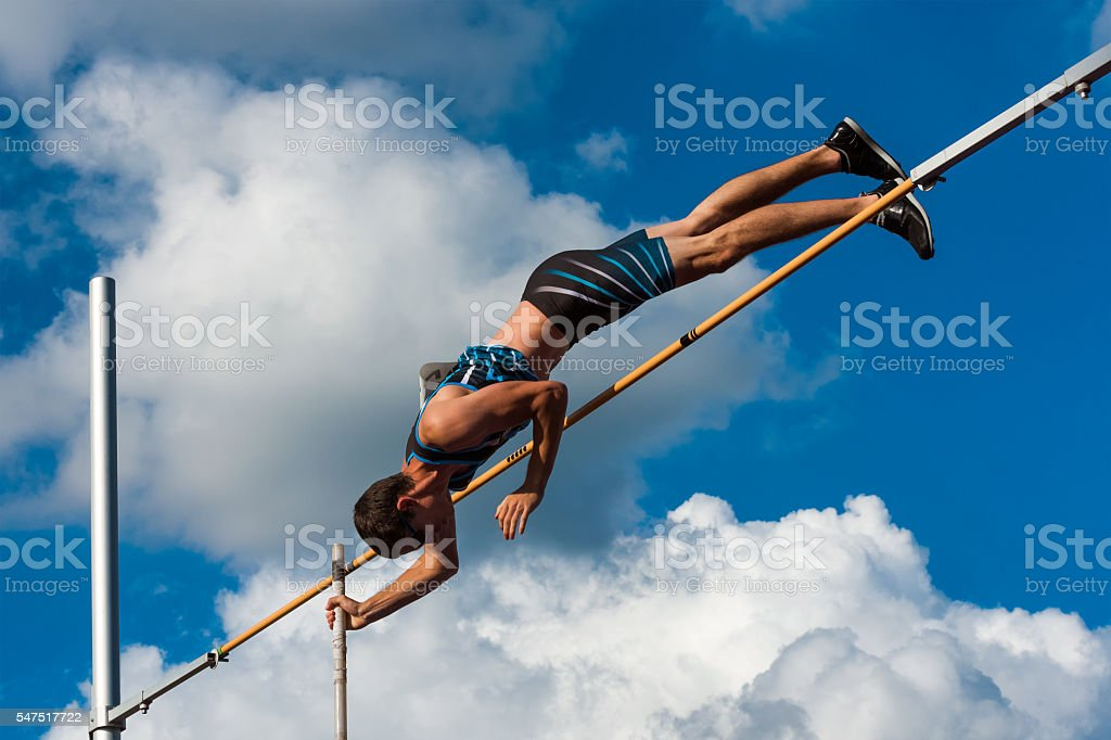 Side View of Succsesfull jump stock photo