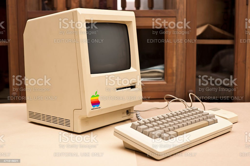 Side View of the Historic Macintosh 128k XXXL royalty-free stock photo