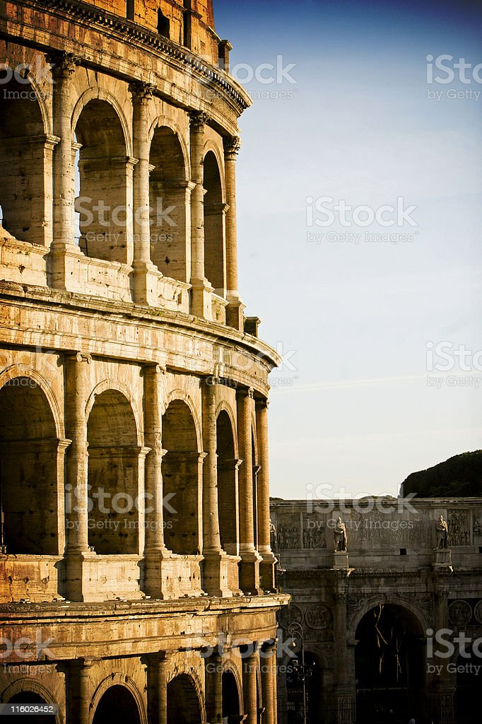 Side view of the Leaning Tower of Pisa in Italy stock photo