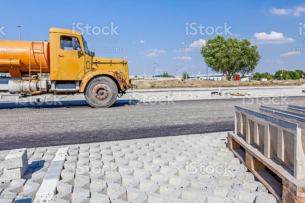 Side view of the old heavy water truck stock photo