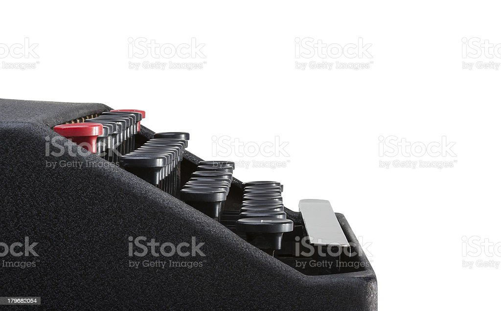 Side view of typewriter keyboard royalty-free stock photo