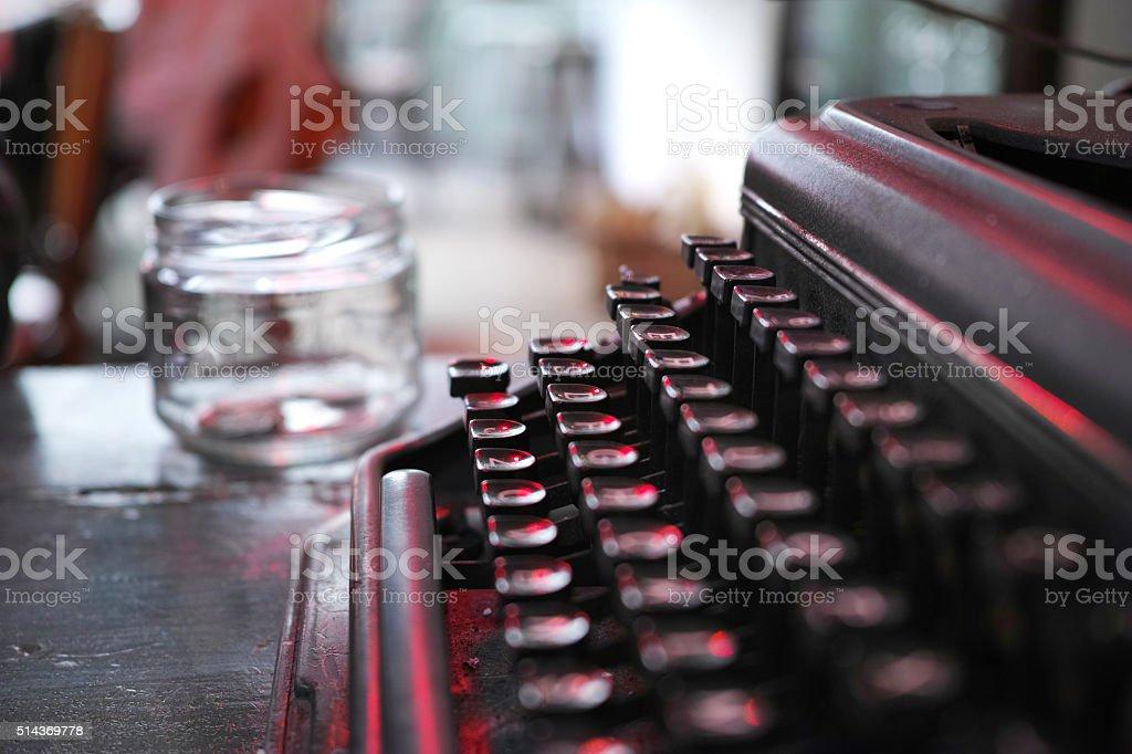 Side View Of Typewriter Keyboard stock photo