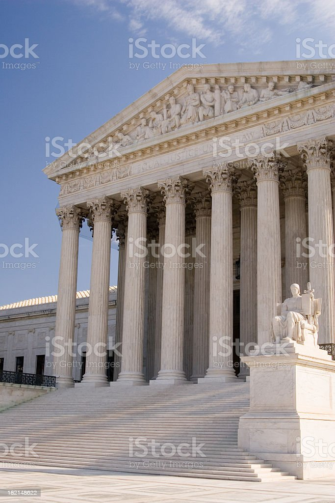 Side view of United States Supreme Court building stock photo