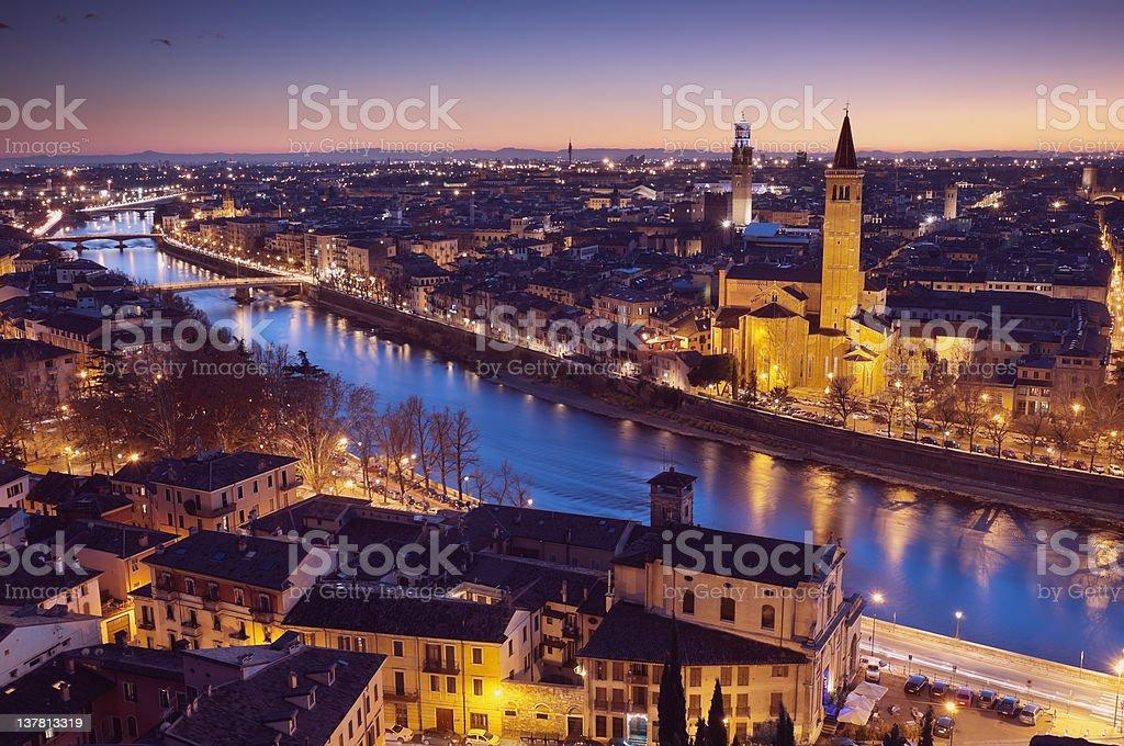 Side view of Verona skyline at night stock photo