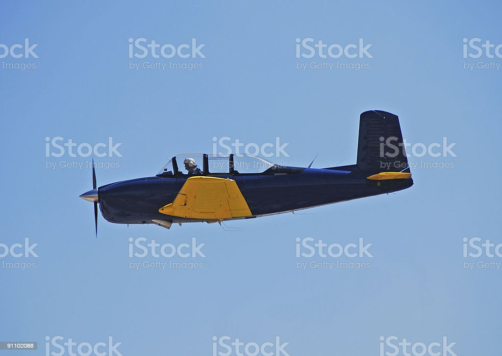 Side view of vintage training aircraft royalty-free stock photo