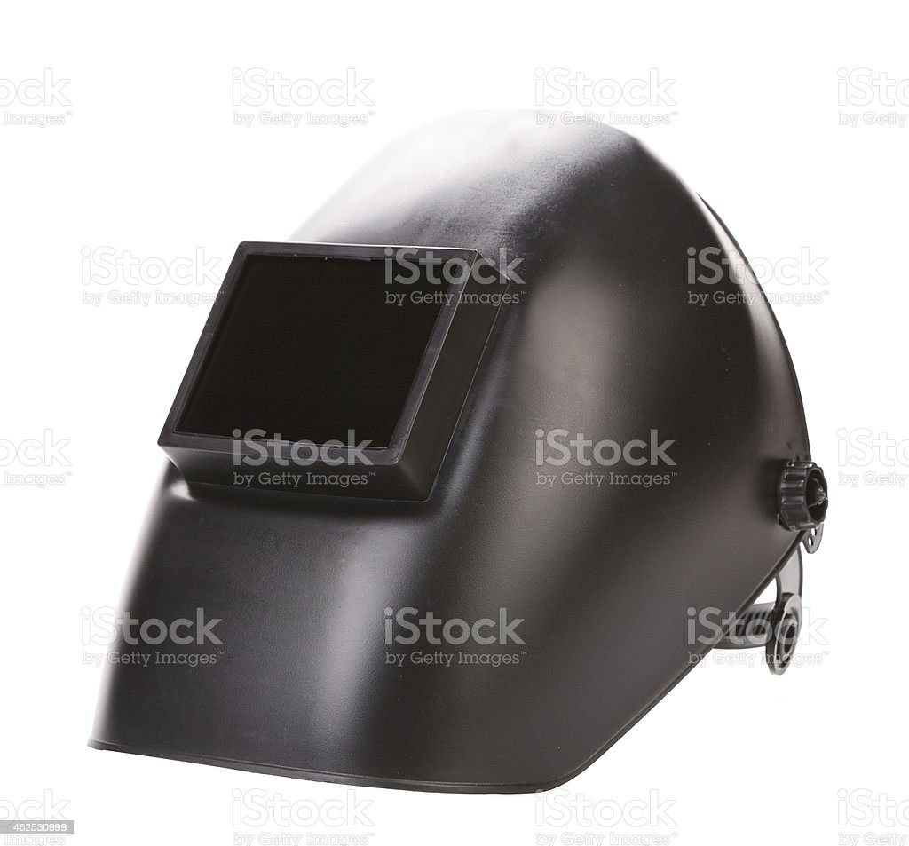 Side view of welding mask. stock photo