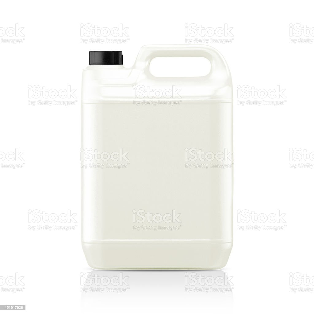 Side view of white plastic bottle gallon with black cap stock photo