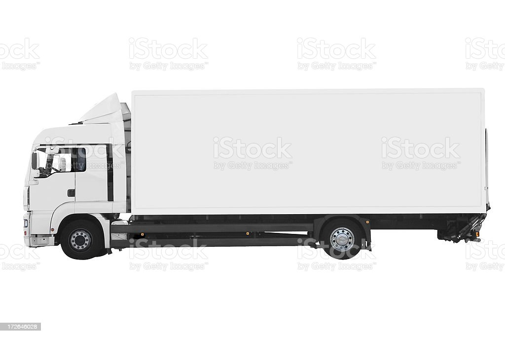 Side view of white truck isolated on white stock photo