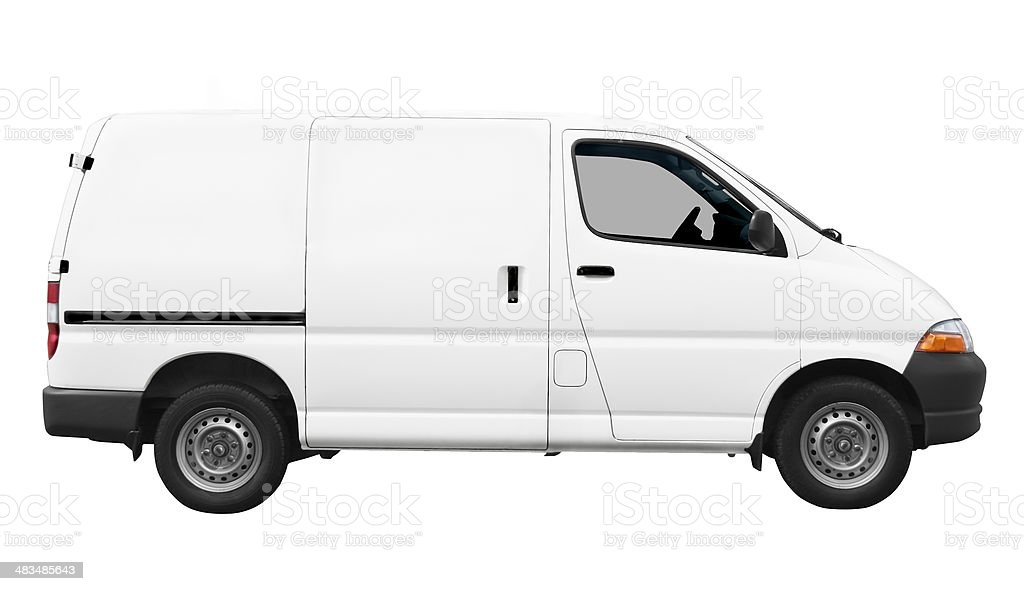 Side view of white van on white background royalty-free stock photo