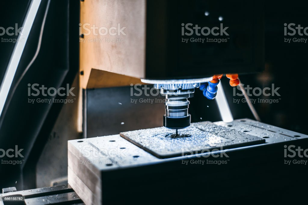 Side view of working CNC milling machine stock photo